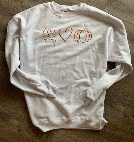 Crewneck sweatshirt leaf heart pumpkin graphic // perfect for fall - Mavictoria Designs Hot Press Express
