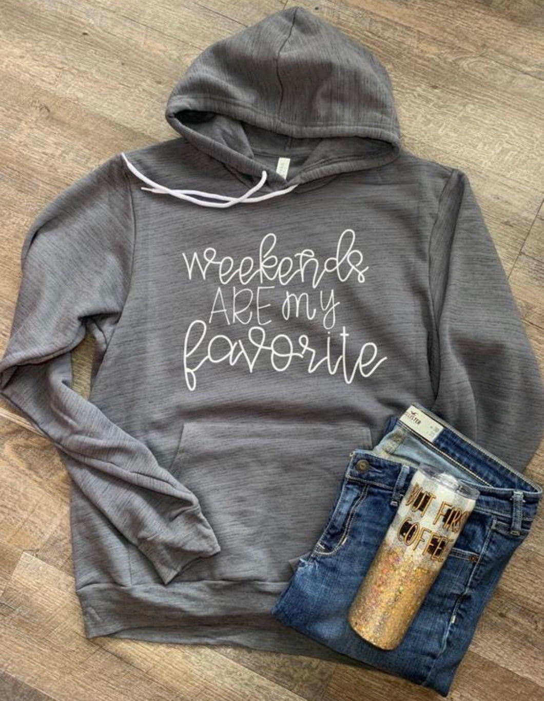 Weekends are my favorite. Funny graphic hoodie. Bella canvas marbled gray. Gift. - Mavictoria Designs Hot Press Express