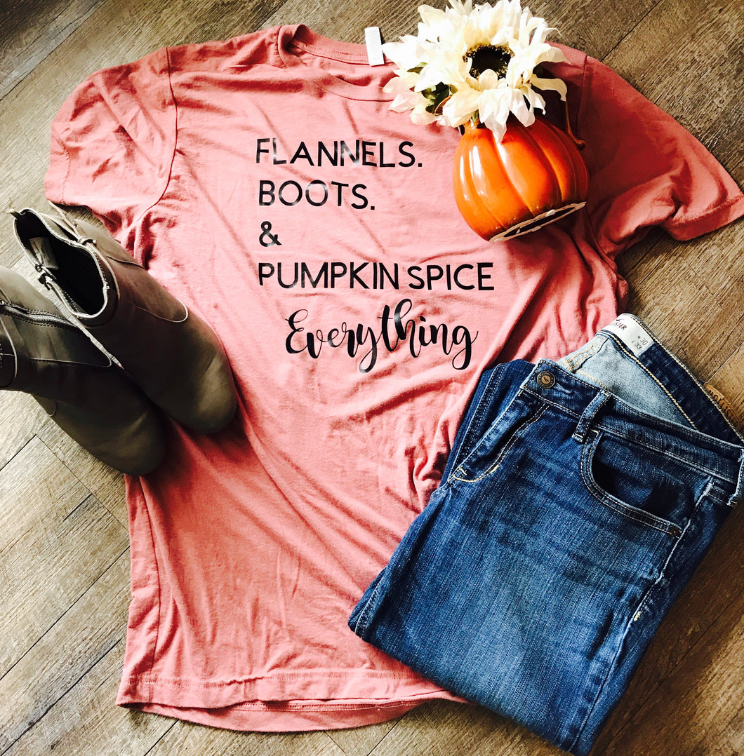 Flannel Boots and Pumpkin Spice Everything mauve Bella canvas tshirt - Mavictoria Designs Hot Press Express