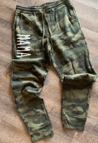 Mama camo camouflage joggers sweatpants unisex fit - Mavictoria Designs Hot Press Express