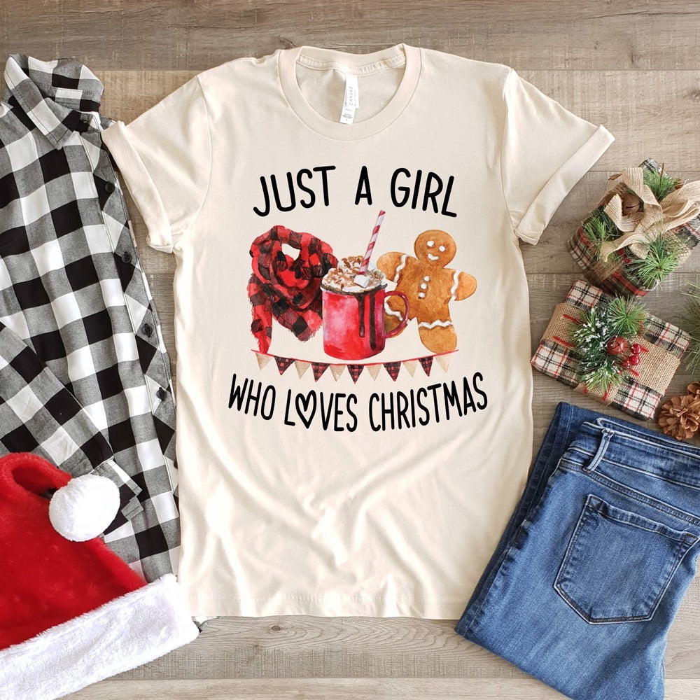 Just a girl who loves Christmas graphic tee long sleeve crew or hoodie - Mavictoria Designs Hot Press Express