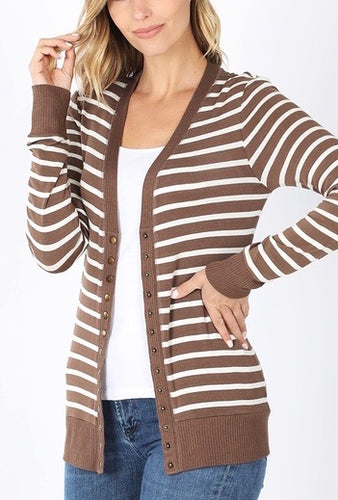 Long Sleeve Stripe Cardigans - Mavictoria Designs Hot Press Express