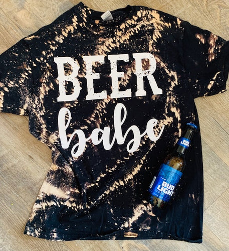 Beer Babe. Black bleached Tee. - Mavictoria Designs Hot Press Express
