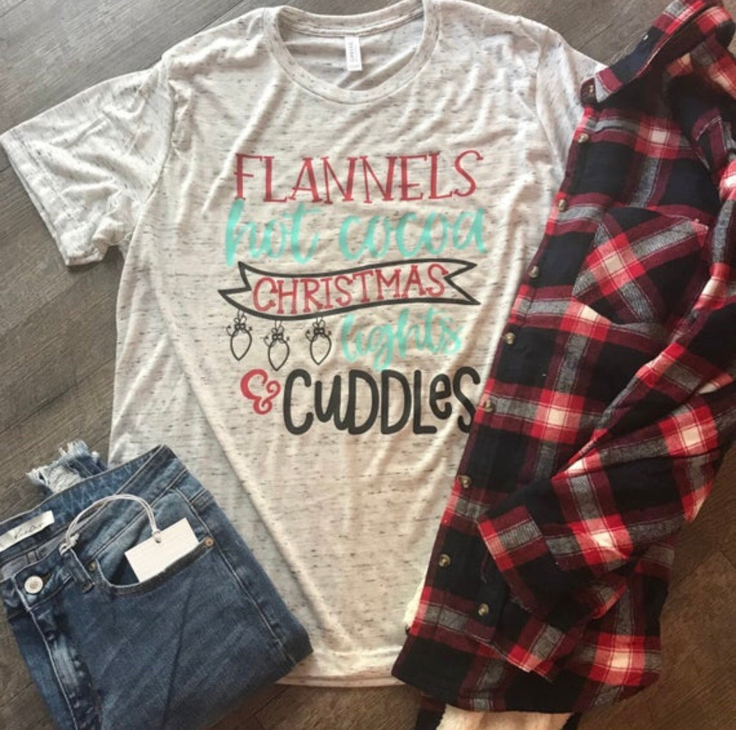 Flannels hot cocoa christmas lights and cuddles marbeld white perfect christmas tee tshirt. Gift. - Mavictoria Designs Hot Press Express