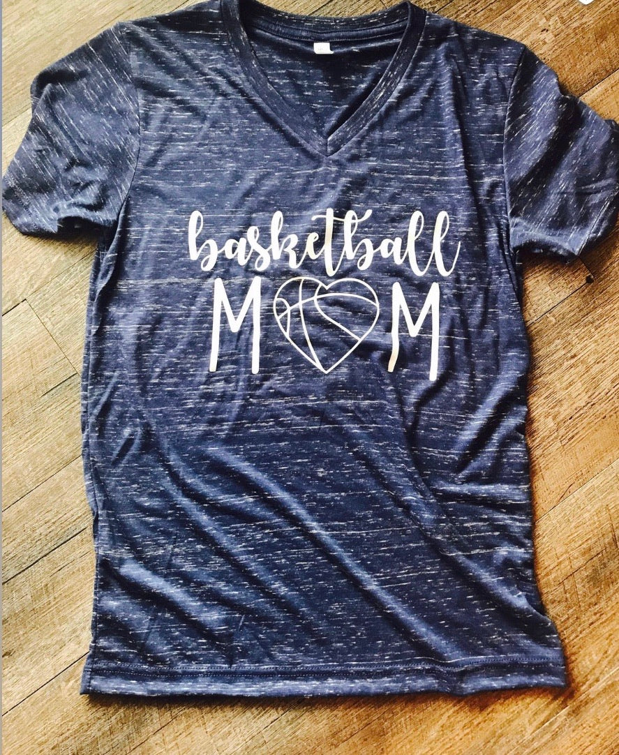 Basketball Mom VNeck.  Bella Canvas. Marble. Womens Graphic Tee. - Mavictoria Designs Hot Press Express