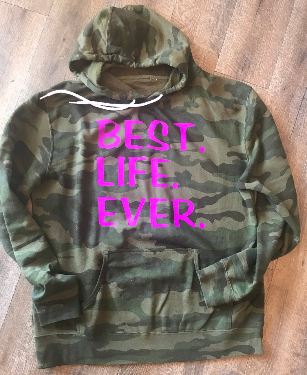 Best life ever hot pink on camo unisex fit hoodie - Mavictoria Designs Hot Press Express