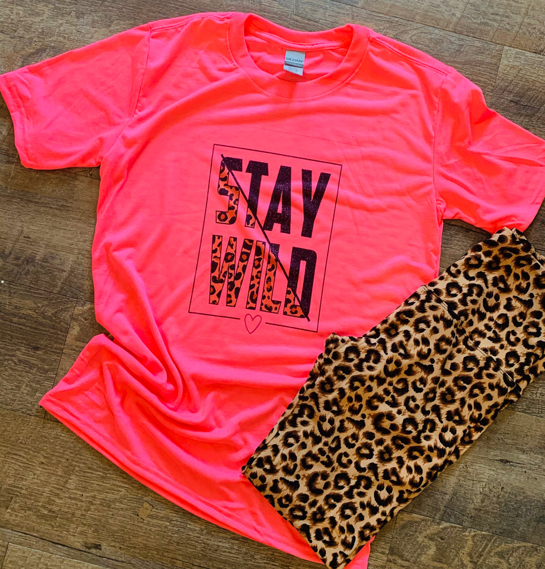 Neon pink with leopard stay wild Graphic tee - Mavictoria Designs Hot Press Express