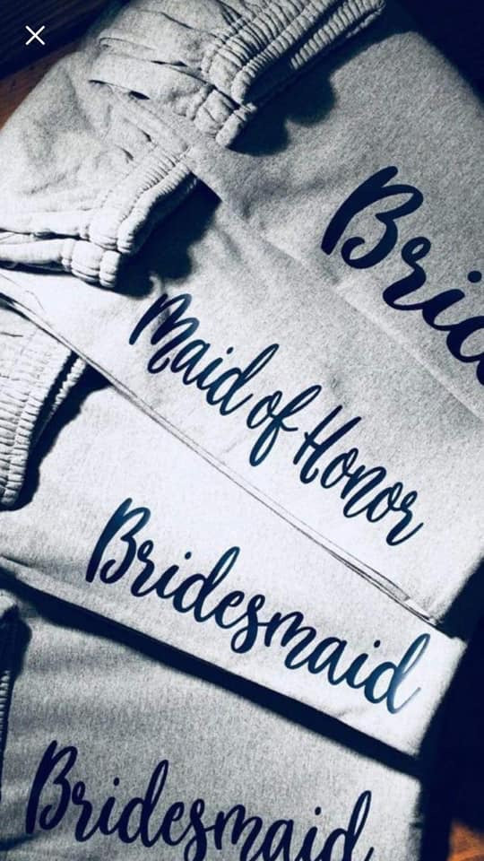Bridal party sweatpants bride bridesmaid maid of honor junior bridesmaid. Getting ready for wedding. Wedding pants - Mavictoria Designs Hot Press Express