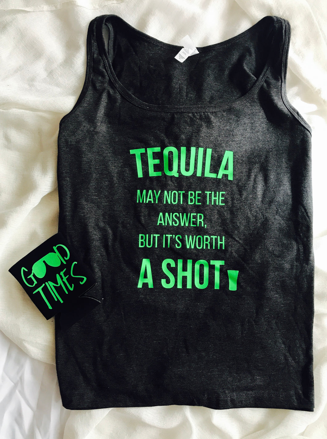 Tequila may not be the answer but it's worth a shot funny party shirt. Bella canvas tank. - Mavictoria Designs Hot Press Express