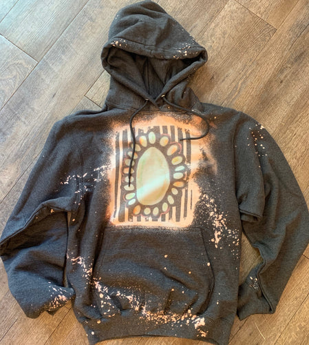 Charcoal turquoise stone hoodie. Graphic Tee or Hoodie. - Mavictoria Designs Hot Press Express
