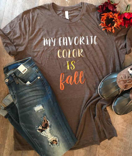 My favorite color is fall custom tee tshirt bella canvas triblend chocolate brown - Mavictoria Designs Hot Press Express