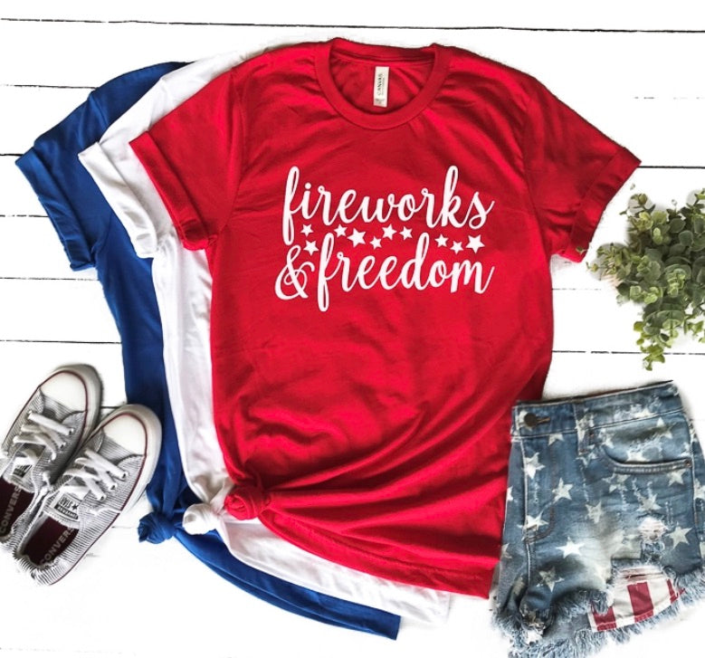 Fireworks and freedom 4th of July graphic tee - Mavictoria Designs Hot Press Express