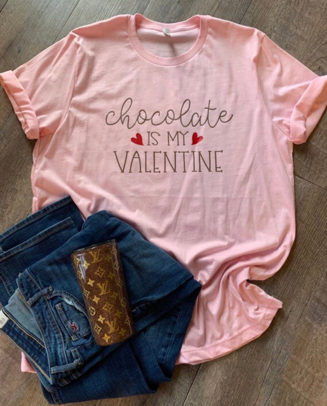 Chocolate is my Valentine funny pink and chocolate brown tee or hoodie. Sarcastic Valentine's Day. Single for vday. Funny shirt. womens gift - Mavictoria Designs Hot Press Express