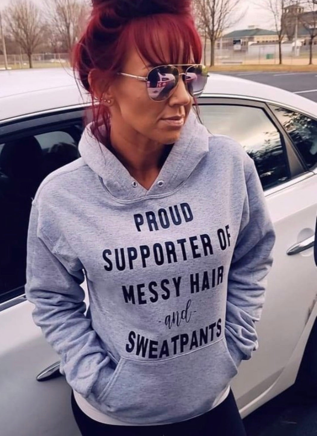 Proud supporter of messy hair and sweatpants funny graphic hoodie messy bun life sweats - Mavictoria Designs Hot Press Express