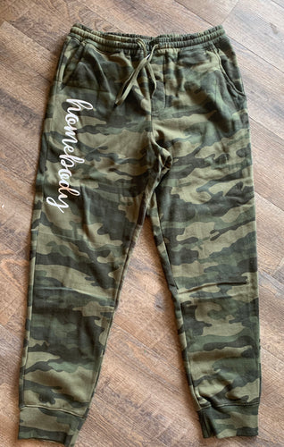 Homebody camo camouflage joggers sweatpants unisex fit - Mavictoria Designs Hot Press Express