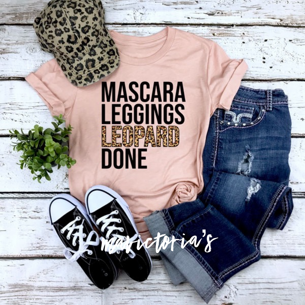 Mascara leggings leopard done graphic tee - Mavictoria Designs Hot Press Express