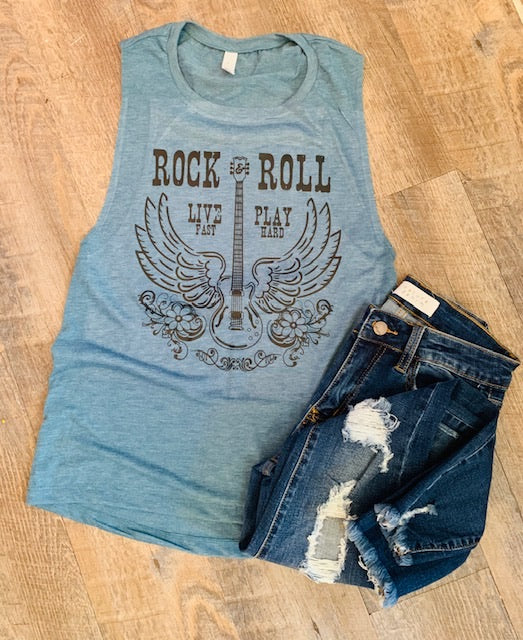 Rock N Roll. Live Fast. Play Hard. Tank. - Mavictoria Designs Hot Press Express