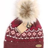 Geometric Pattern Fur Pom CC Beanie - Mavictoria Designs Hot Press Express