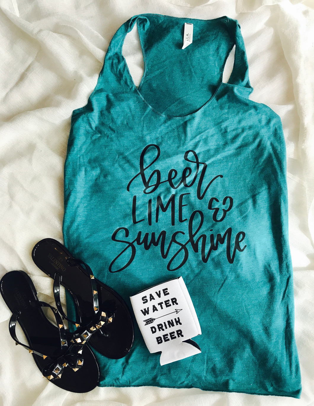 Beer lime and sunshine teal racerback Bella canvas triblend tank. Drinking shirt. Funny tank. - Mavictoria Designs Hot Press Express