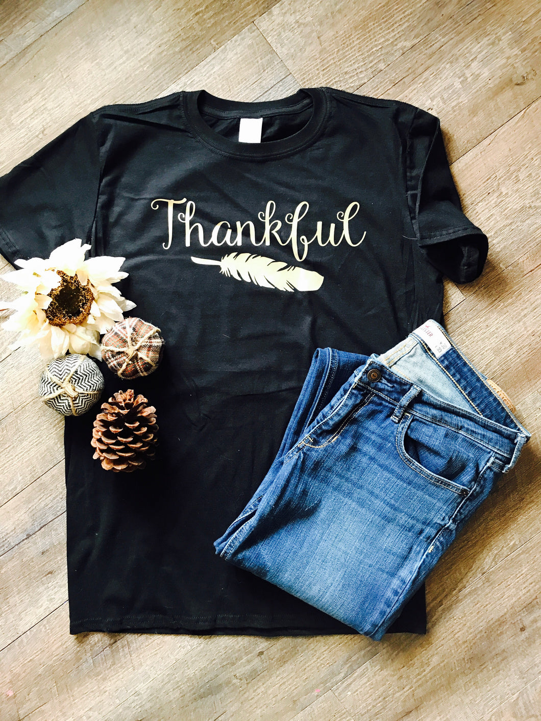 Thankful feather unisex fit t-shirt. Black and gold. Thanksgiving shirt. - Mavictoria Designs Hot Press Express