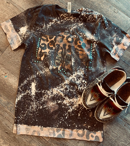 Leopard thunderbird leopard sleeves bleached graphic tee - Mavictoria Designs Hot Press Express