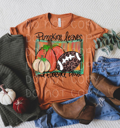 Pumpkins Leaves And Football Please // graphic tee - Mavictoria Designs Hot Press Express