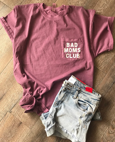 Bad Moms Club pocket tee  next level inspired dyes eggplant funny mom shirt motherhood Mother's Day gift - Mavictoria Designs Hot Press Express
