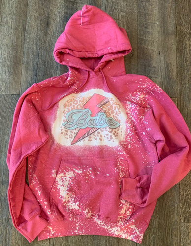 Pink bleached babe hoodie. Graphic Tee or Hoodie. - Mavictoria Designs Hot Press Express