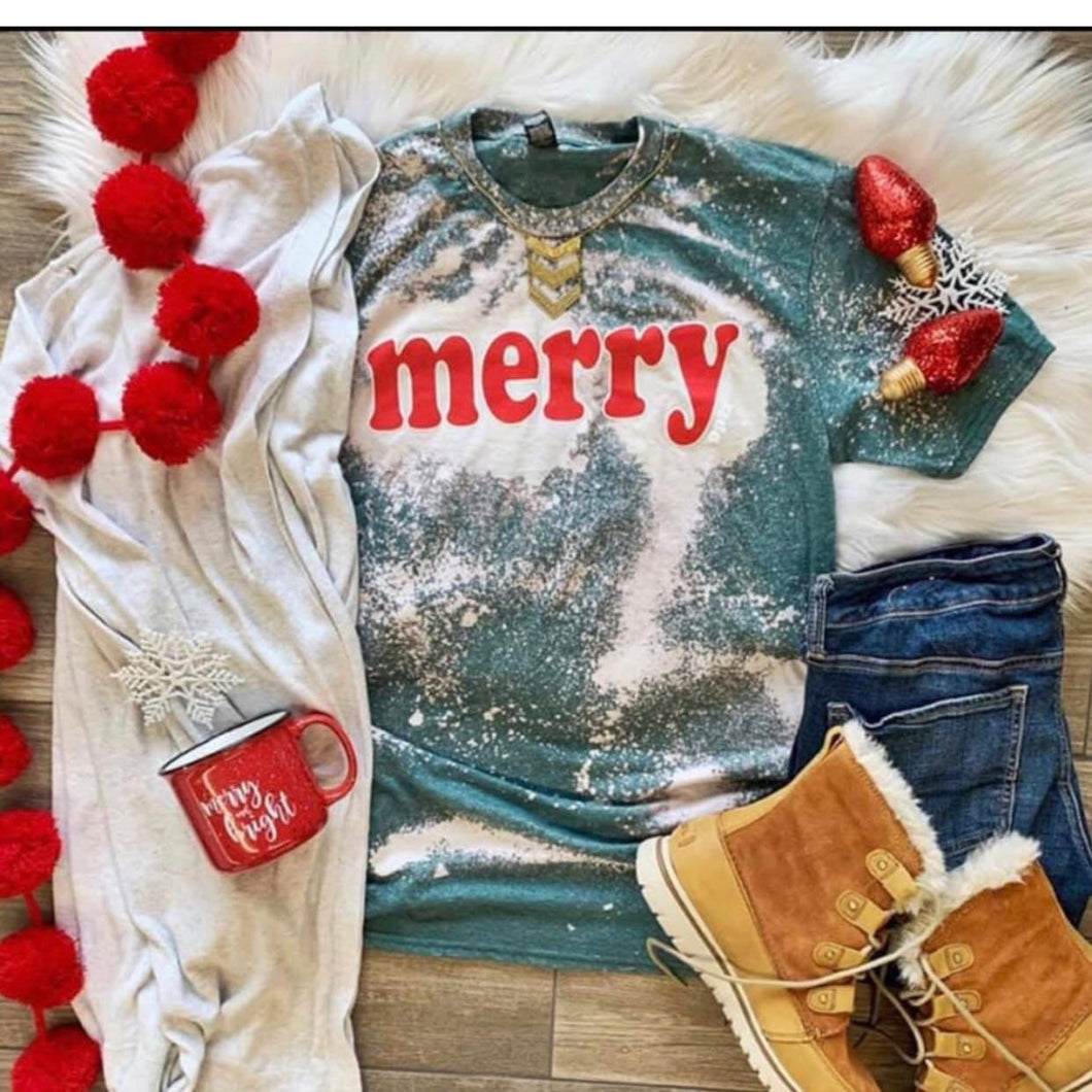 Merry // distressed bleach Christmas graphic tee long sleeve crew or hoodie - Mavictoria Designs Hot Press Express