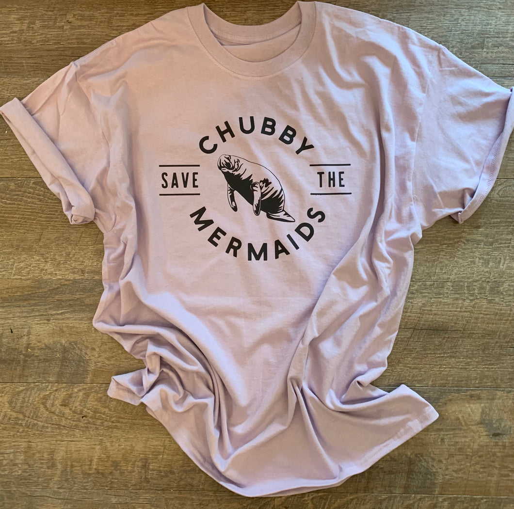 Save the chubby mermaids lilac graphic tee - Mavictoria Designs Hot Press Express