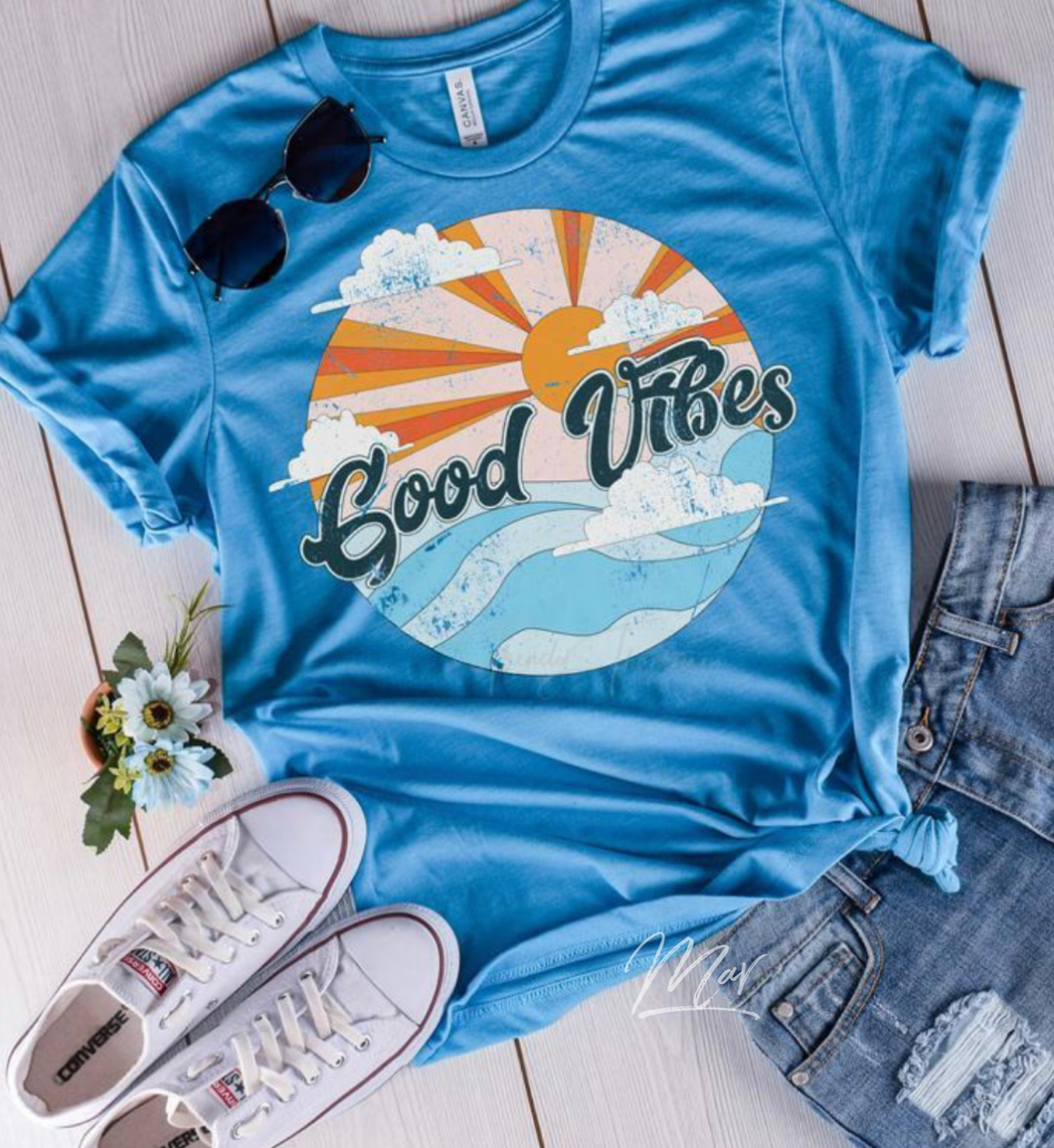 Good vibes summer graphic tee long sleeve crew or hoodie - Mavictoria Designs Hot Press Express