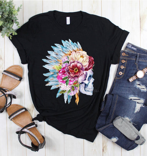 Skull headdress western graphic tee long sleeve crew or hoodie - Mavictoria Designs Hot Press Express