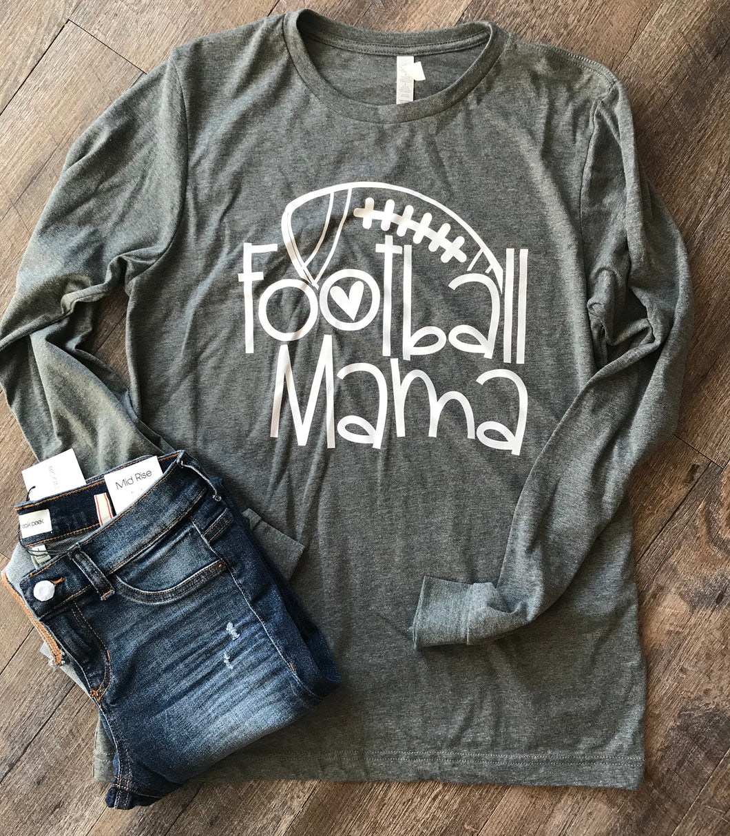 Football mama graphic tee dark heathered gray long sleeve or short sleeve - Mavictoria Designs Hot Press Express