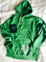 Monogram front LUCKY on back St. Patrick's day hoodie. Green hoodie. J.America brand - Mavictoria Designs Hot Press Express