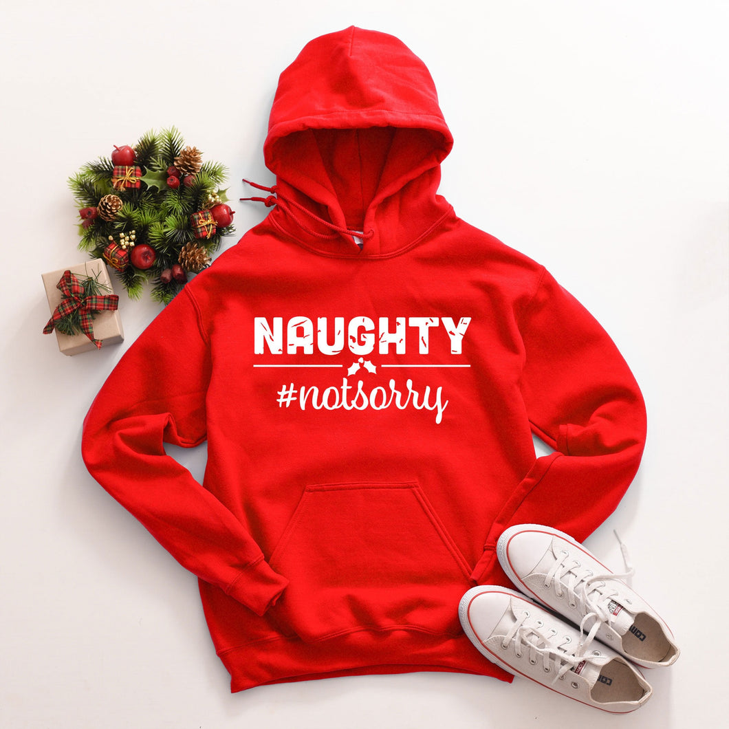 Naughty #notsorry funny graphic tee long sleeve crew or hoodie - Mavictoria Designs Hot Press Express