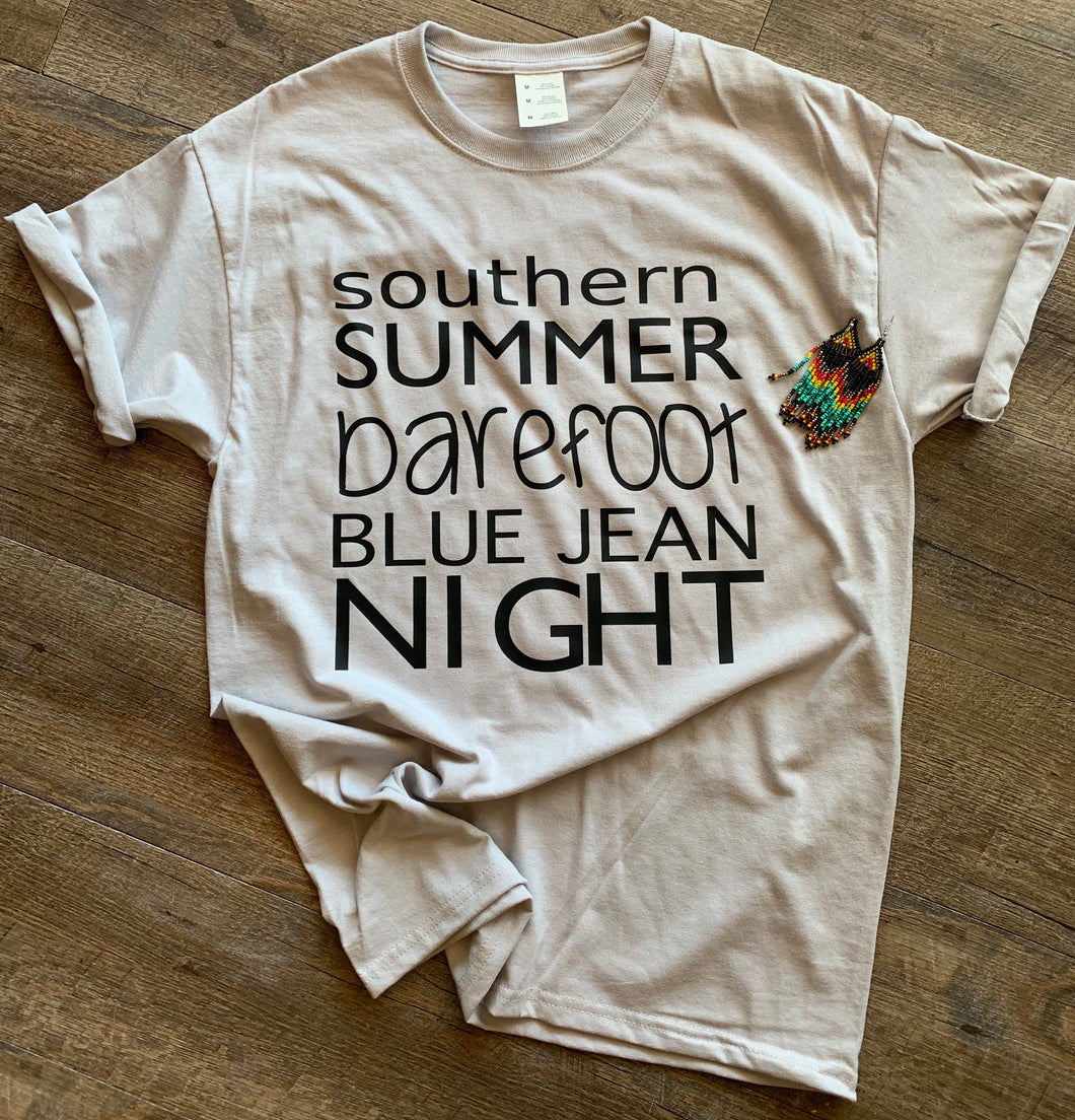 Southern summer barefoot blue jean night graphic tee - Mavictoria Designs Hot Press Express