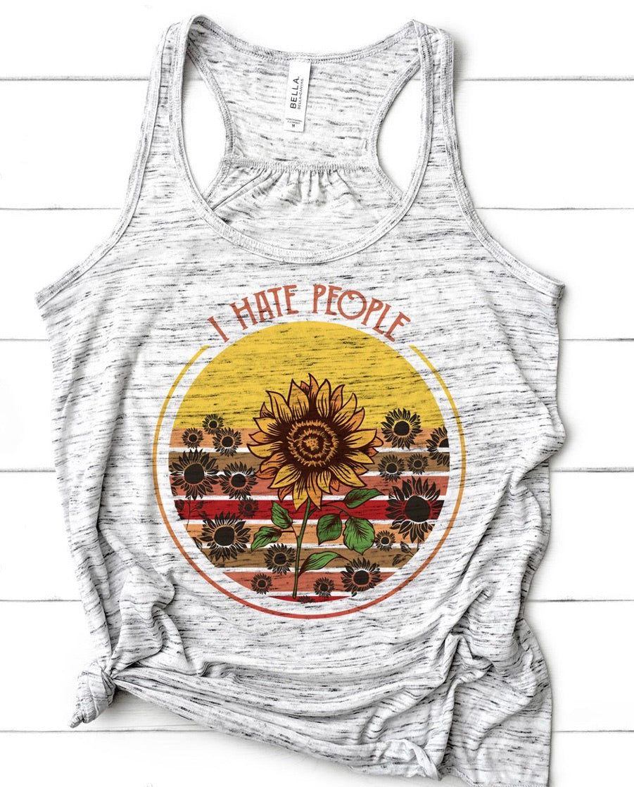 I hate people sunflower graphic tank - Mavictoria Designs Hot Press Express