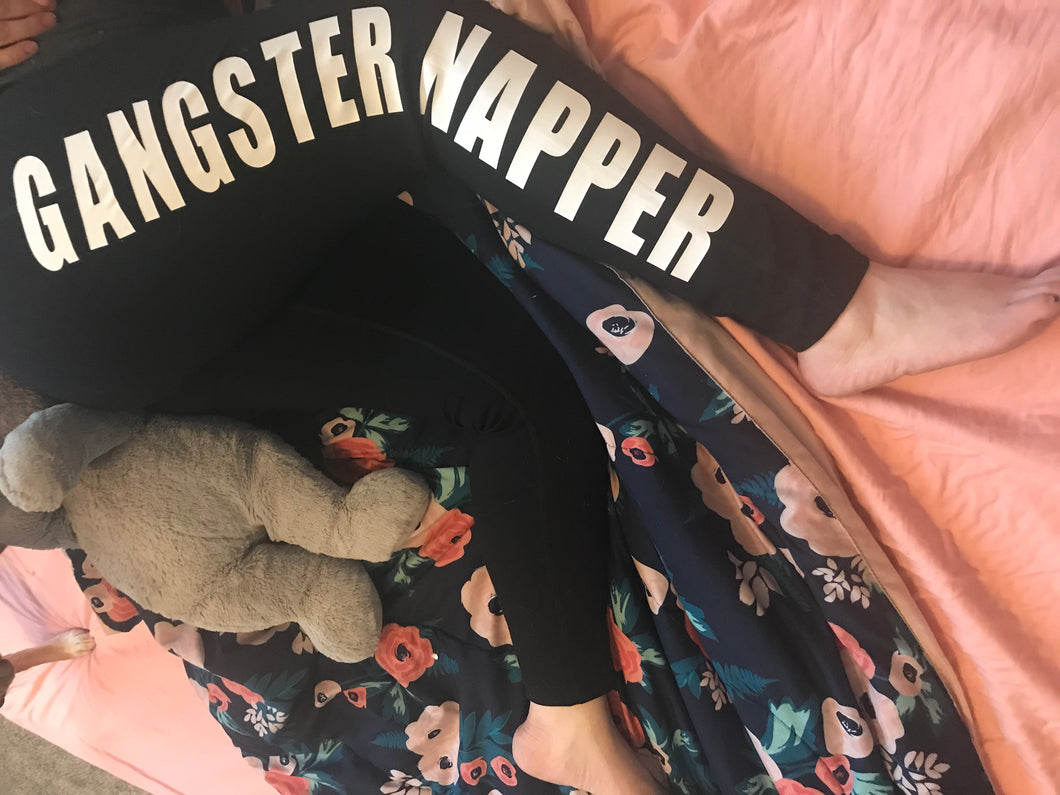 Gangster Napper leggings super cute funny women's leggings - Mavictoria Designs Hot Press Express