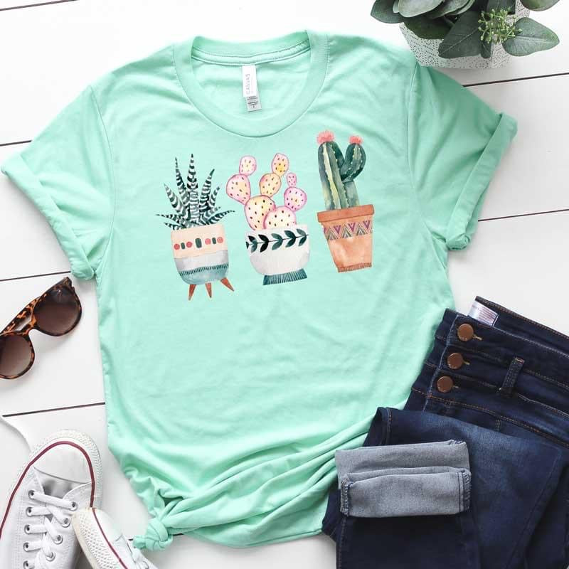 Cacti Cactus Pots // graphic tee - Mavictoria Designs Hot Press Express