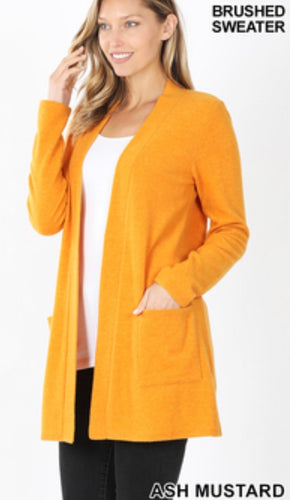BRUSHED MELANGE SWEATER OPEN FRONT POCKET CARDIGAN - Mavictoria Designs Hot Press Express