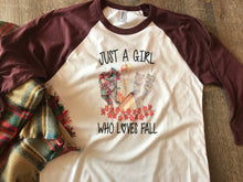 Just a girl who loves fall graphic raglan baseball tee maroon fall shirt - Mavictoria Designs Hot Press Express
