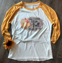 Load image into Gallery viewer, But I think I love fall most of all fall mustard yellow raglan baseball tee burlap fall graphic tee - Mavictoria Designs Hot Press Express