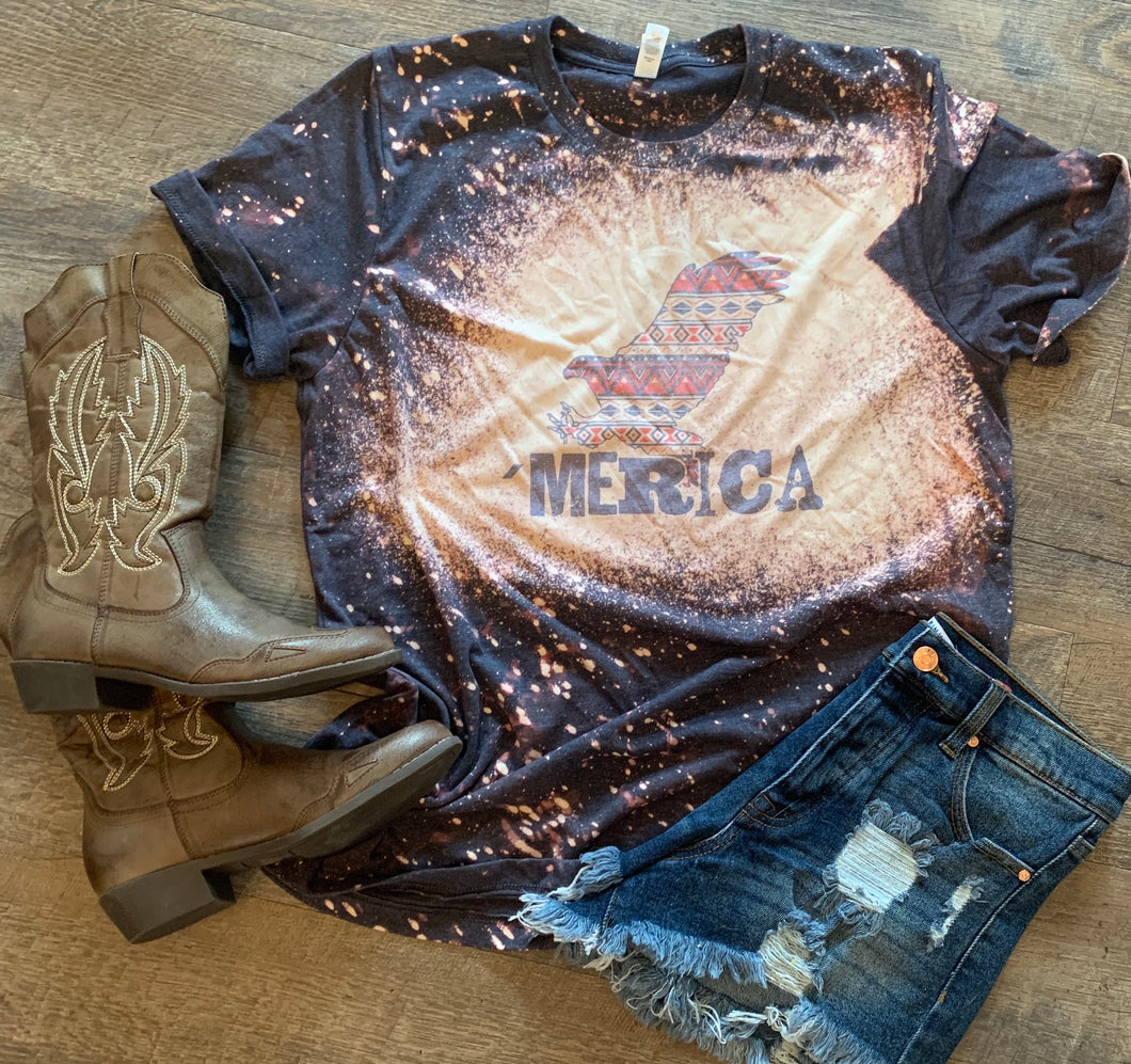 'Merica aztec eagle graphic tee distressed - Mavictoria Designs Hot Press Express