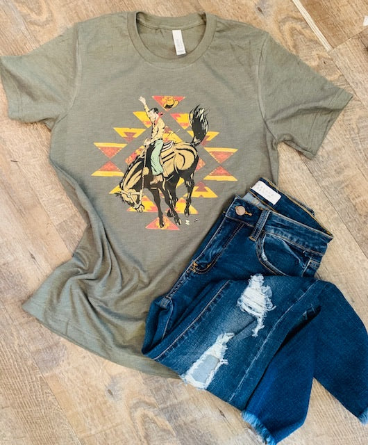 Aztec Cowboy Bronco Tee. Bella Canvas. - Mavictoria Designs Hot Press Express