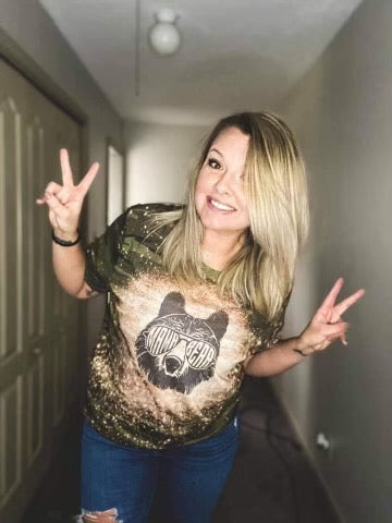 Mama Bear bleached camo graphic tee - Mavictoria Designs Hot Press Express