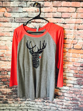May your days be merry and bright Reindeer raglan gray and red. Christmas! - Mavictoria Designs Hot Press Express