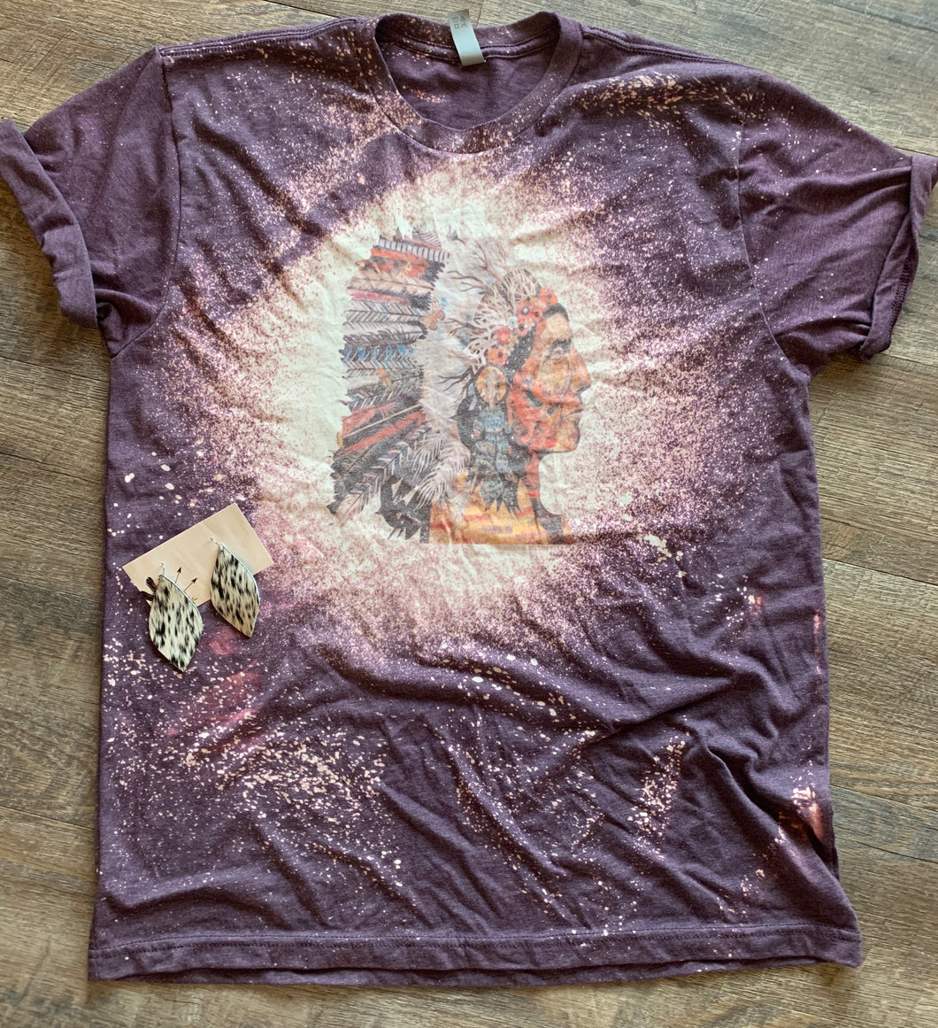 Indian headdress western bleached graphic tee long sleeve crew or hoodie - Mavictoria Designs Hot Press Express