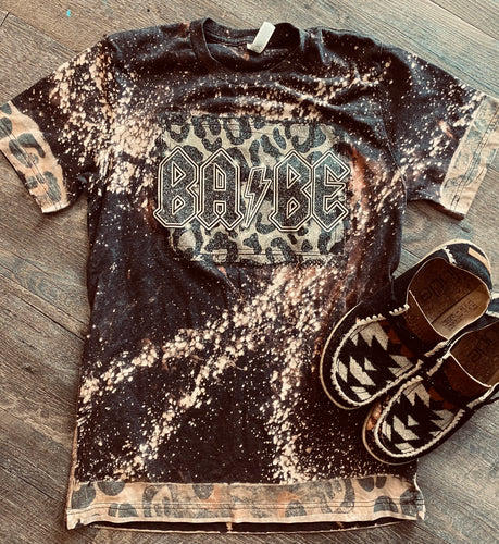Charcoal bleached AC/DC BABE leopard sleeves bleached graphic tee - Mavictoria Designs Hot Press Express