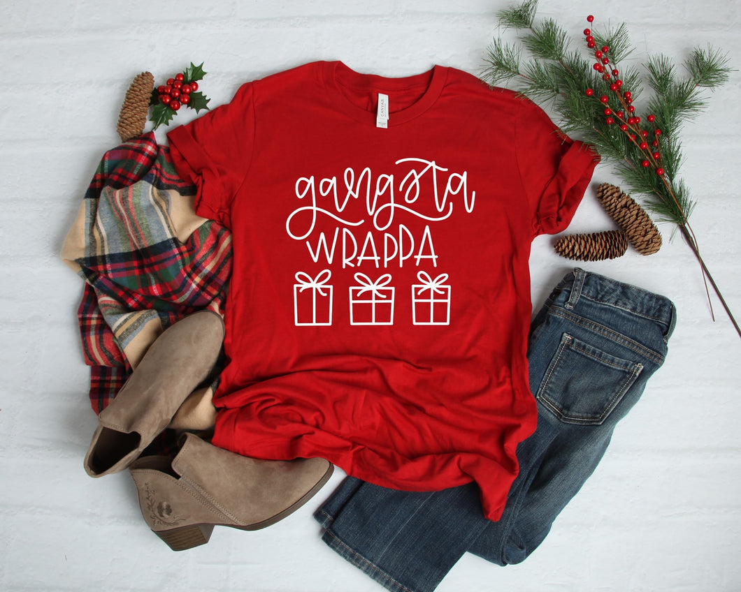 Gangsta wrappa Christmas funny graphic tee long sleeve crew or hoodie - Mavictoria Designs Hot Press Express