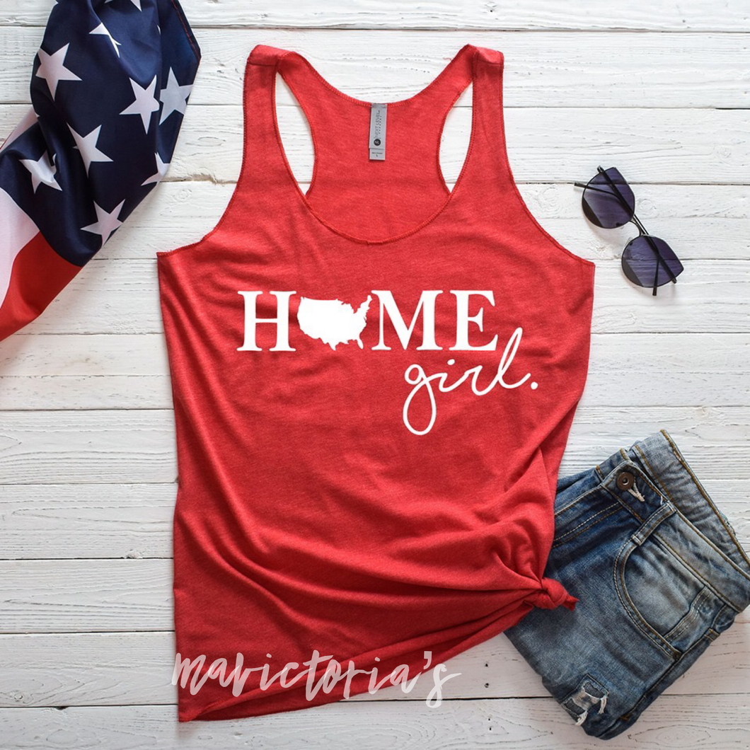 Home girl United States graphic tank or tee. 4th of july. Patriotic - Mavictoria Designs Hot Press Express